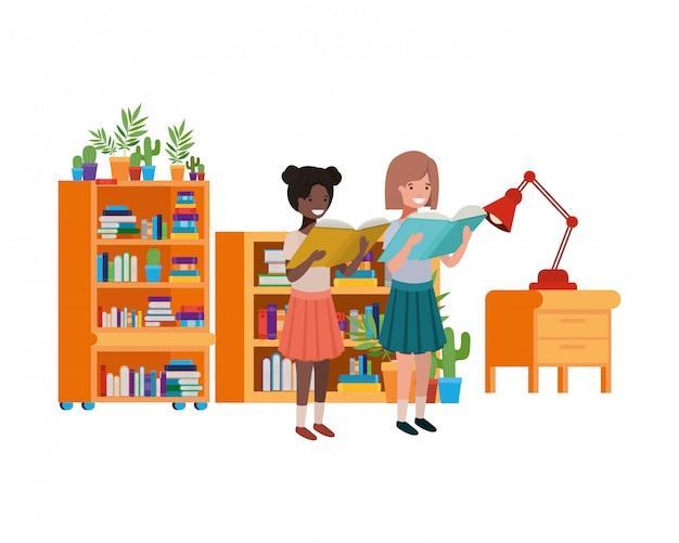 Studentenmeisjes met lezingsboek in de handen