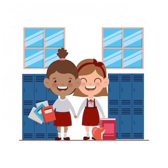 Studentenmeisjes met schoolbenodigdheden in de klas
