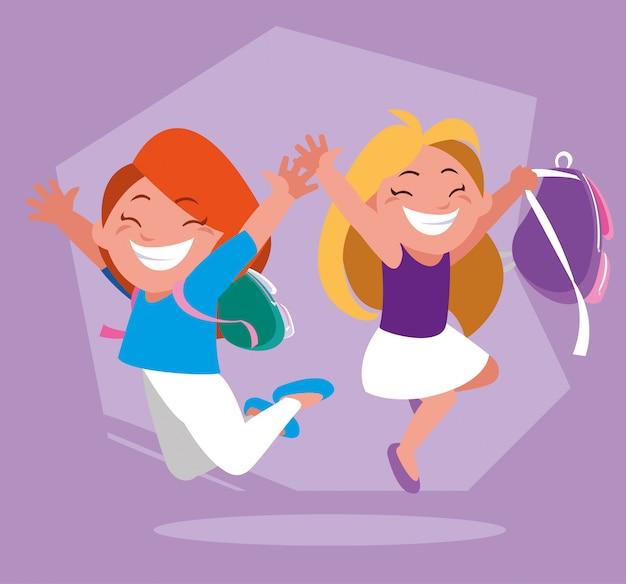 Studentenmeisjes met schoolbenodigdheden, terug naar school