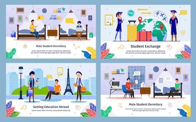 Studentenuitwisseling, in het buitenland onderwijs banners