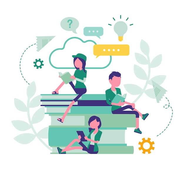 Studentenvrienden die boeken lezen