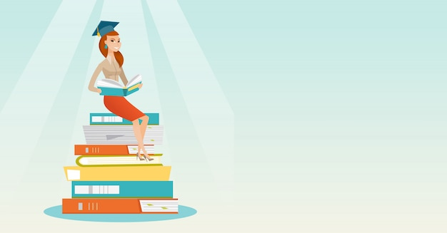 Studentenzitting op enorme stapel boeken.