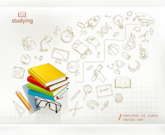 Studeren en onderwijs, infographics, vector