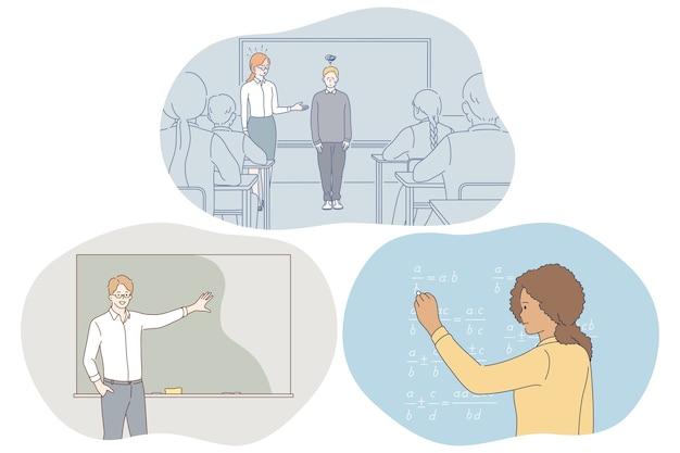 Studeren op school, leerling, leraar concept.