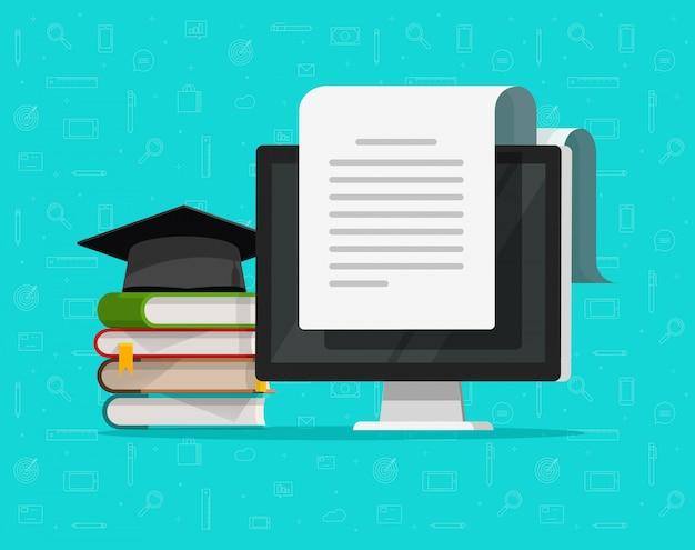 Studie concept en inhoud document met tekst op computerscherm of voorbereiding om te studeren