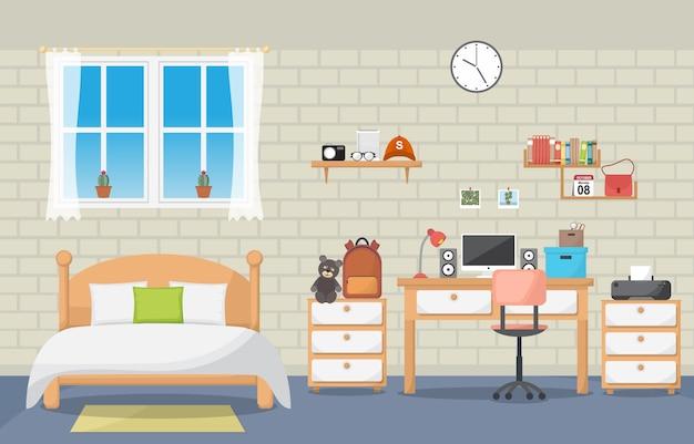 Studiebalie tafel slaapkamer interieur kamermeubilair