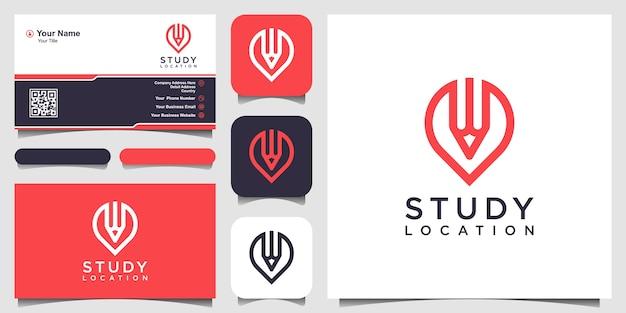 Studielocatie, potlood gecombineerd met pin kaarten teken logo ontwerpen sjabloon
