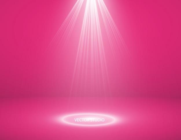Studio achtergrond. vector lege roze studio voor uw ontwerp, schijnwerpers. vectorafbeeldingen