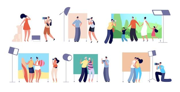 Studio fotosessie. professionele fotografie business, mensen en fotograaf. familie, schoonheid model fotoshoot vectorillustratie. professionele fotosessie, modestudio met camera