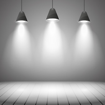 Studio interieur met witte muur en spotverlichting. projector, realistisch duidelijk, hoogtepunt en vloer, vectorillustratie
