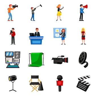 Studio met elementen van het nieuwsbeeldverhaal. set illustratie van nieuws- en televisieproductie. verzameling elementen camera. microfoon voor studio.