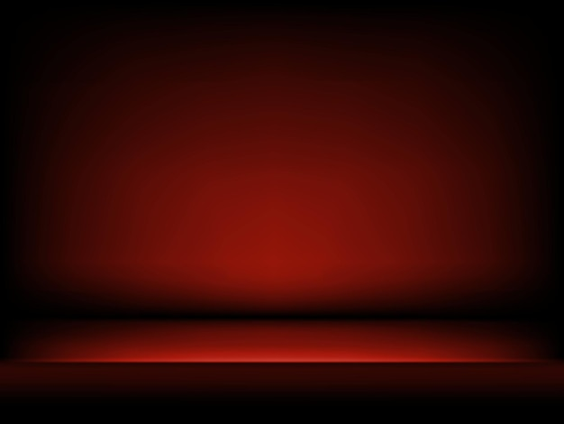 Studio rode achtergrond in abstracte stijl. donkerrode abstracte gradiëntachtergrond met zachte schaduwen. podium voor productdemonstratie. donkere kamer interieur.