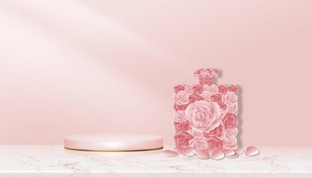 Studiokamer achtergrondroos in parfumvorm met roze en geelgouden cilinderstandaard op marmer