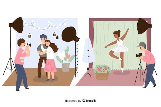 Studiomodellen worden gefotografeerd geïllustreerd