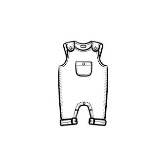 Stuk baby slijtage hand getrokken schets doodle pictogram. zomer overall met een zak voor kinderkleding vector schets illustratie voor print, web, mobiel en infographics geïsoleerd op een witte achtergrond.