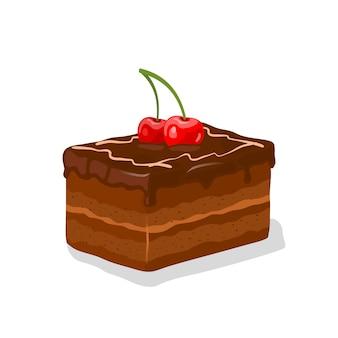 Stuk chocolade geglazuurde gelaagde taart, chique cake met botercrème gegarneerd met kersen en slagroom. truffel shortcake. cacao patisserie. cartoon afbeelding op wit.
