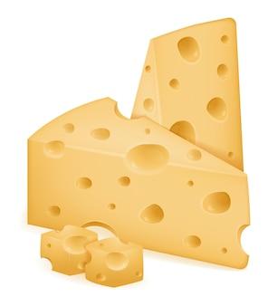 Stuk kaas gesneden met gaten op wit