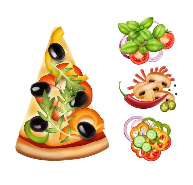 Stuk pizza met drie varianten van vullingen geïsoleerd op wit