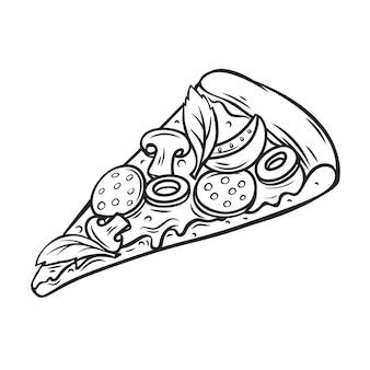 Stuk pizza met tomaat, pepperoni en champignons.