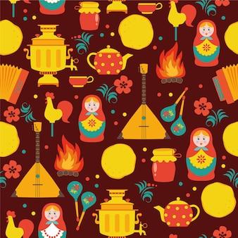 Stuk russisch naadloos patroon. russische vakantie stuk.