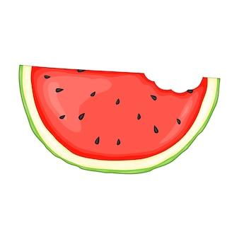 Stuk watermeloen in een leuke cartoonstijl. vectorillustratie geïsoleerd op een witte achtergrond.