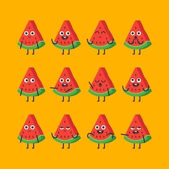Stuk watermeloen tekenset verschillende opties en emoties. vectorillustratie.