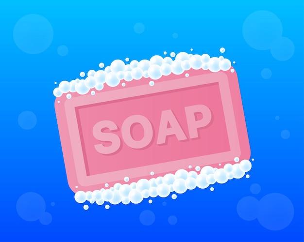 Stuk zeep met schuim in vlakke stijl geïsoleerd op blauwe achtergrond. vector illustratie.