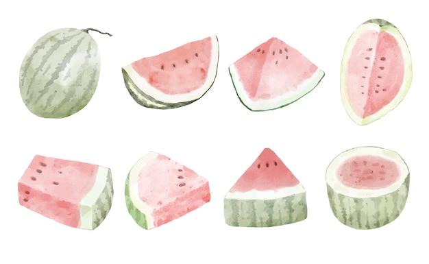 Stukje watermeloen in vector aquarel stijl