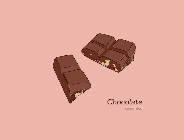 Stukjes chocoladereep, schets stijl vector