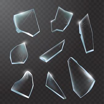Stukjes gebroken glas. verbrijzeld glas op transparante achtergrond. realistische afbeelding