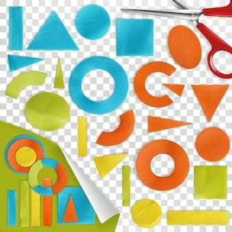 Stukjes papier, geometrische vormen, plat ontwerp met textuur en schaduwen.