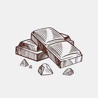 Stukjes zwarte en witte chocoladereep. vector schets geïsoleerde achtergrond.