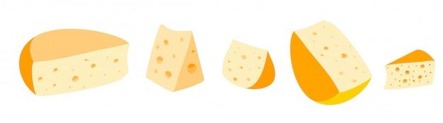 Stukken kaas op wit. kaas pictogrammen. kaas soorten. boerenkaas. moderne stijl realistische vectorillustratie