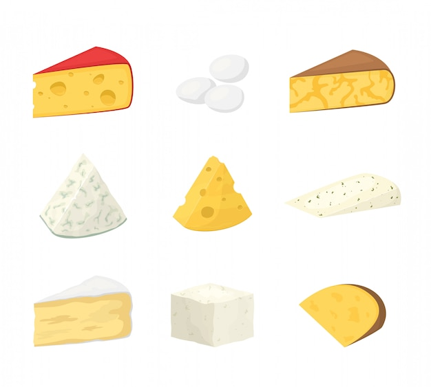 Stukken van kaas op wit worden geïsoleerd dat.