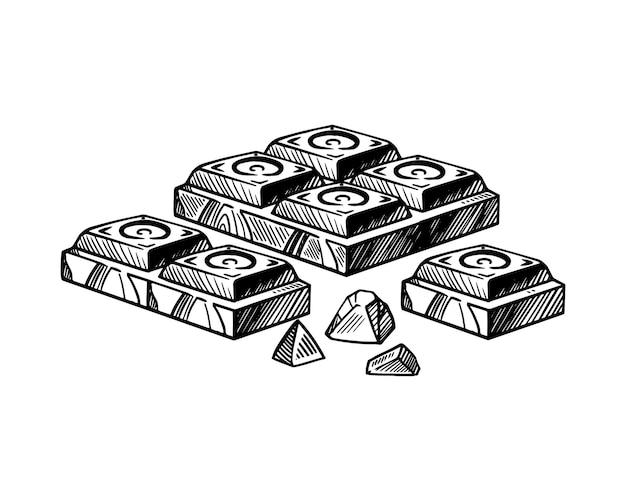 Stukken van zwarte en witte chocoladereep vector schets geïsoleerde achtergrond grote brokken
