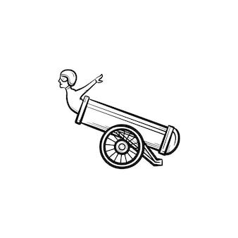 Stuntman in het kanon hand getrokken schets doodle pictogram. circustruc met stuntman en kanon vector schets illustratie voor print, web, mobiel en infographics geïsoleerd op een witte achtergrond.