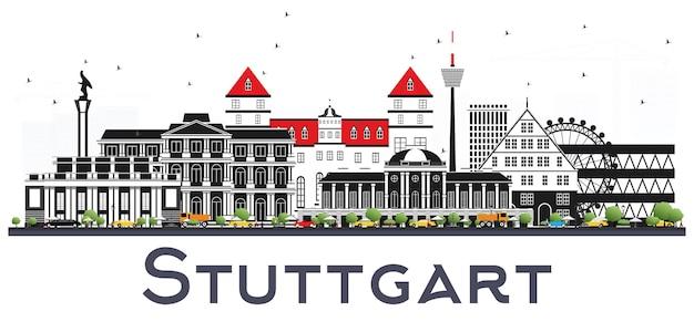 Stuttgart duitsland skyline met kleur gebouwen geïsoleerd op wit.