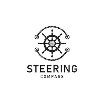 Stuur kapitein boot schip jacht kompas vervoer logo ontwerp inspiratie