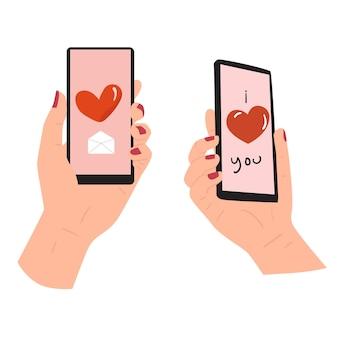 Stuur liefdesberichten, liefdesmailconcept