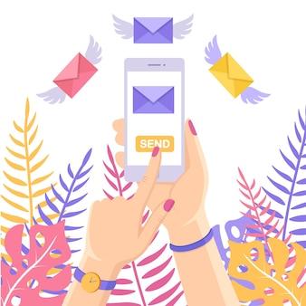 Stuur of ontvang sms, brief, bericht met witte mobiele telefoon. menselijke hand houdt mobiel. vliegende envelop met vleugels
