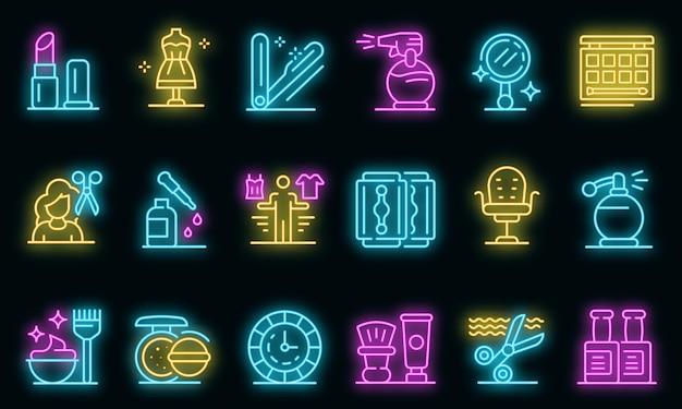 Stylist pictogrammen instellen. overzicht set van stylist vector iconen neon kleur op zwart