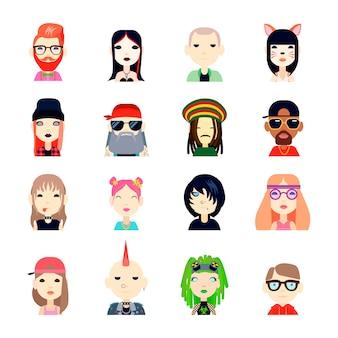 Subculturen en mensenavatar met hippie en hipster vlak geïsoleerde vectorillustratie die wordt geplaatst