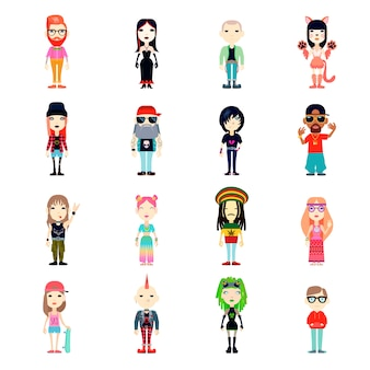 Subculturen icons set