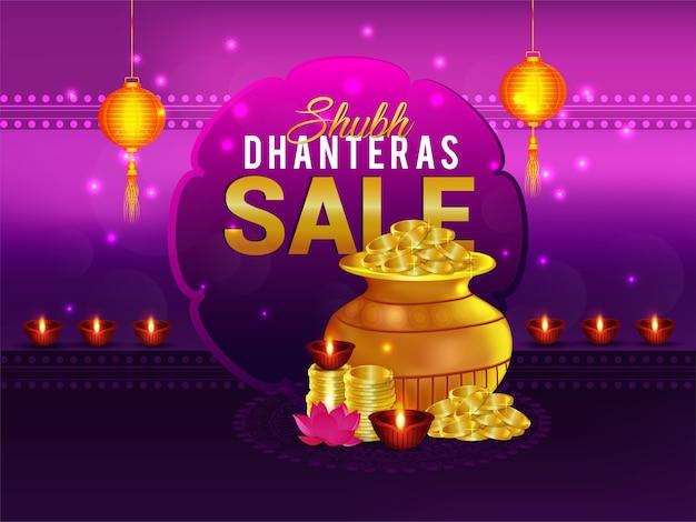 Subh dhanteras verkoop bannerontwerp en gouden muntenpot