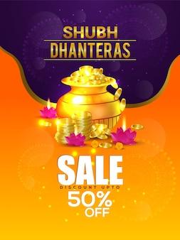 Subh dhanteras verkoop bannerontwerp