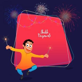 Subh diwali vieringen concept met happy kid holding firecrakes op roze en blauwe achtergrond.