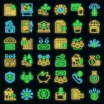 Subsidie pictogrammen instellen. overzichtsreeks subsidie vectorpictogrammen neonkleur op zwart