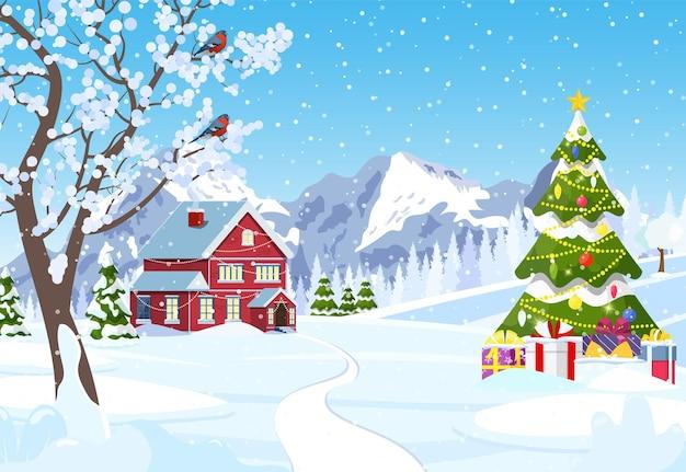 Suburban huis bedekt sneeuw.