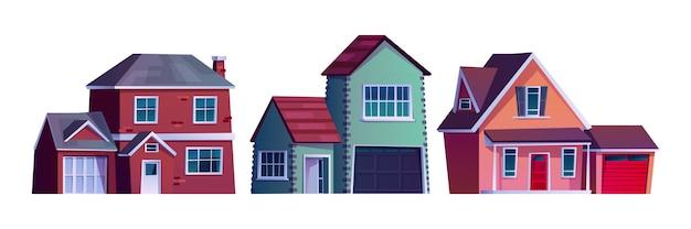Suburban straat huis landelijke land gebouwen geïsoleerde cartoon iconen vector condominium appartementen on