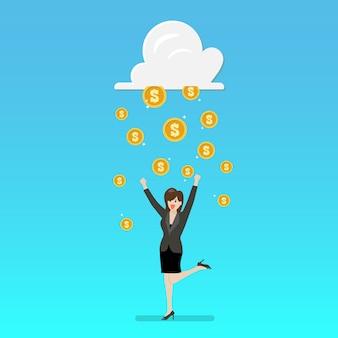 Succes bedrijfsvrouw met wolk en geldregen
